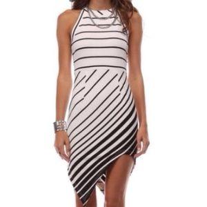 Tea & Cup Black & white asymmetrical Dress